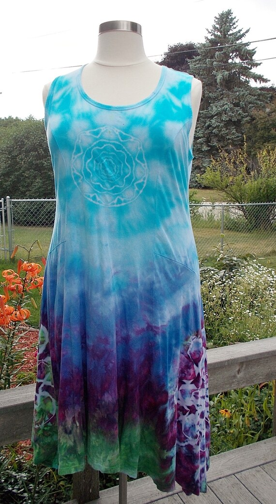 Ice dye tie dye Swing Dress and Jacket, 2XL