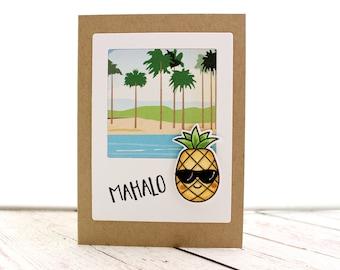 Mahalo, Hawaiian Thank You Card, Pineapple Thank You Card, Tropical Thank You Card, Island Greeting Card, Pineapple Card,