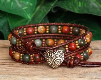 Red Creek Jasper and Seed Bead Wrap Bracelet, Beaded Leather Double Wrap For Her, Artisan Bracelet, Leather and Stone Bohemian Jewelry