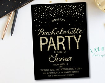 Bachelorette Invitation, Glitter Bachelorette Invitation, Hens Party Invitation, Bachelorette Invite