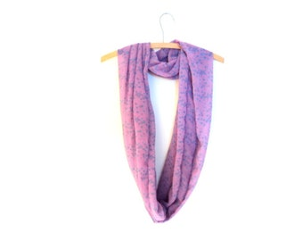 Infinity scarf for woman. Accessory mode. Pink and blue scarf. Summer scarf.