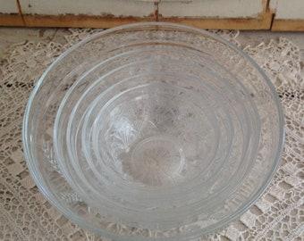 Vintage Set of 5 Nesting Bowls Unique Wheat Pattern