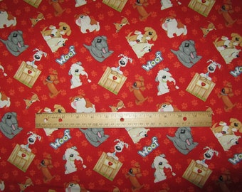 Henry Glass Dogs and Suds Red with Multicolored Dogs Cotton Fabric by the Yard
