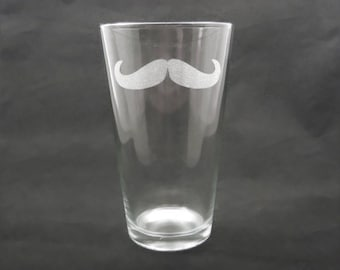 7 Custom Engraved Mustache Pint Glasses for Groomsmen