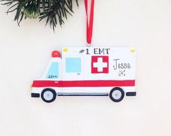 Ambulance Personalized Christmas Ornament / Ambulance Ornament / EMT Ornament