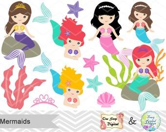 Digital Mermaid Clip Art, Little Mermaid Digital Clipart, Mermaid Princess Clip Art, Mermaid Princess Clipart, Mermaid Scrapbook Decor, 0188