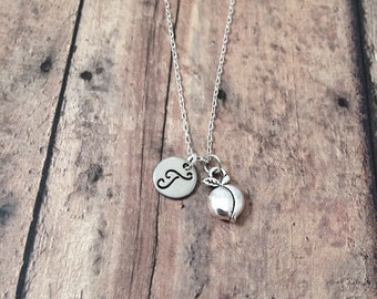 Peach initial necklace - peach jewelry, fruit necklace, Georgia necklace, silver peach pendant, Georgia jewelry, fruit jewelry