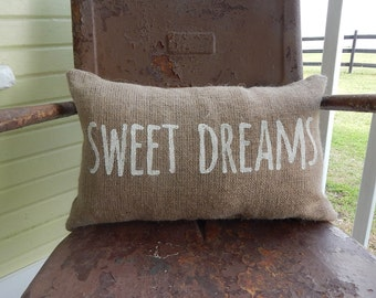 Burlap Pillow SWEET DREAMS  Burlap Pillow Throw Accent Pillow Custom Colors Baby Shower Nursery Kids Room Decor
