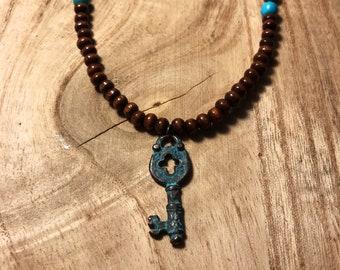 Ready to ship/ Boho chic jewelry/Patina key necklace
