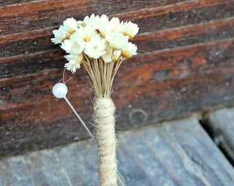 Wedding Boutonniere- Babies Breath, Dried Star Flowers, Groom, Groomsmen, Father of the Bride, Father of the Groom, Boho Rustic