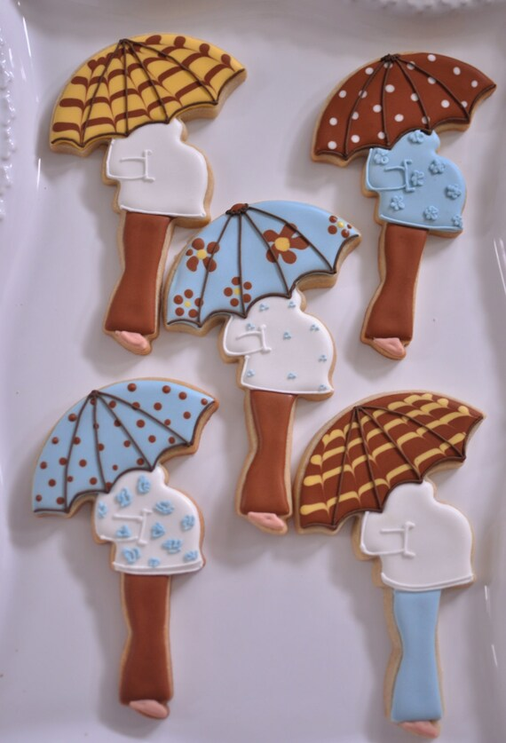10 Blue Pregnant Lady with Umbrella Cookie Favors - for baby showers, new baby party