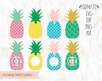 Pineapple, monogram frame SVG (layered), PNG, DXF, Pdf format, cricut, cut file, silhouette studio, vinyl decal, t shirt design, mtc scal
