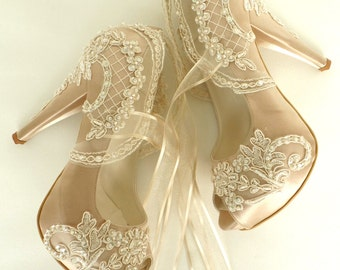 Embellished Lace Wedding Shoes, Champagne Satin Embroidered Bridal Shoes
