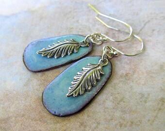 Delicate Earrings Gift small Silver Feather Earrings Robins egg blue Enamel Earrings boho jewelry - enamel jewelry