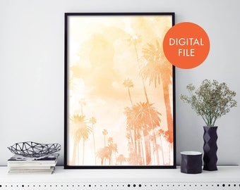 Palm Tree, Sunset Boulevard LA Watercolour Print Wall Art   Print At Home   Digital Download File