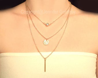 Multilayer Necklace Gold. Gold Bar Necklace. Crystal Necklace Summer Wedding. Boho necklace. Bridesmaids necklaces. Bridesmaid gift