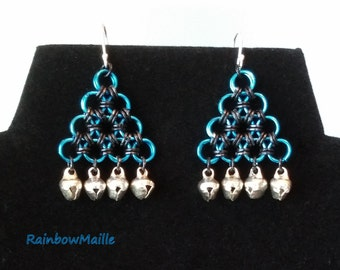 Handmade pyramid chainmaille earrings in black on blue Japanese 12-in-2 pattern with silverplated bells by RainbowMaille