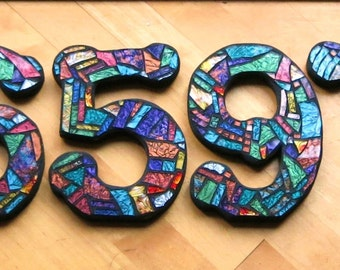 """MOSAIC HOUSE NUMBERS - 8"""" Tall - Custom Multi-Colored Van Gogh Glass or Your Color Choice - Order 8"""" Size Numbers From This Listing - Ooak!!"""