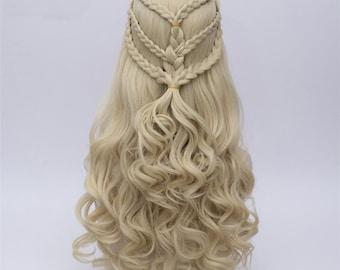 Game of Thrones Cosplay Wig Daenerys Targaryen khaleesi Long Curly Hair Mother of DragonsLong Blond Braided Wig, Dany Wig, Daenerys cosplay,