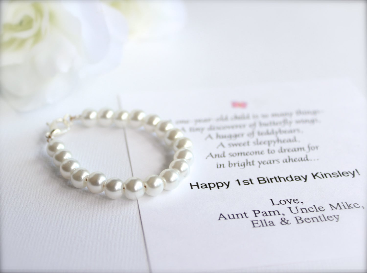 Baby girl 1st birthday gift pearl bracelet with birthday card zoom bookmarktalkfo Images