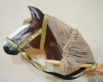 Horses gifts stick horse hobby horse grandchildren gift kids toy on stick bridle horse pony toy ride on horse stick horse ride horse mane