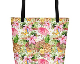 Tropical Beach Bag, Tropical bag, Pineapple beach bag, Pineapple bag, Hawaiian Beach Bag, Hawaiian Bag, Palm leaves bag, Aloha Beach bag