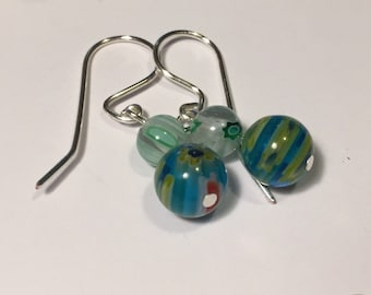 Murano glass style drop earrings - variety of colours available
