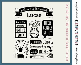 SVG Birth Stats Template svg Birth Announcement svg Baby Stats svg - Cricut Silhouette cute newborn statistic fact date time weight dxf png