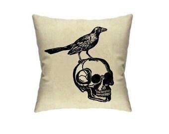 Raven Pillow Cover Bird and Skull Pillows Edgar Allan Poe Decor Housewares Cushion Cover Throw Pillow Accent Cute Halloween home