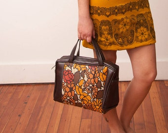 Vintage Brown Handbag with Orange and Red Floral Print - Vtg Brown Purse - Vintage 60s Handbag - 1960s Accessories - Christmas Gift For Her