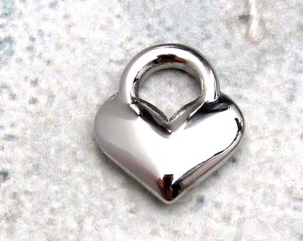 Heart Charm, Stainless Steel Jewelry Pendant, Set of 4 SST Findings 14x16x4mm Heart Pendant Heart Charm Heart Medium Heart (106)