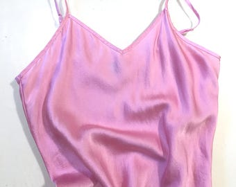 Eco-Dyed Silk Camisole; Cotton Candy; Cochineal dyed; size Large