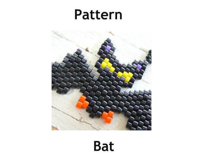 Black Bat Bead Stitch PATTERN, Halloween Jewelry DIY Craft, Seed Beads