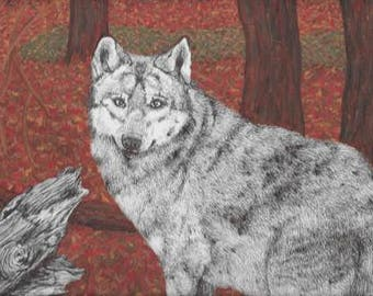 Wolf in the wood Original painting
