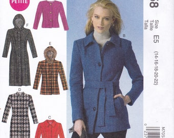 FREE US SHIP McCalls 7058 Coat Jacket Hood Pocket Hoody Vest ff Sewing Pattern Size 6 8 10 124 14 16 18 20 22 Bust 30 32 34 36 38 40 42 44