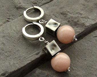 Sterling silver and powder rose jade earrings