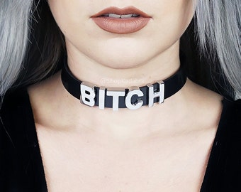 BITCH Choker | Black Vinyl Choker Collar | Faux Leather PVC | Name Collar | Collar | Custom | Letters | Safe Word Choker | Shop Kadabra