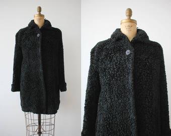 vintage 1940s coat / 40s faux persian lamb coat / 40s swing coat / 40s black faux fur coat / 40s noir vixen coat / medium large