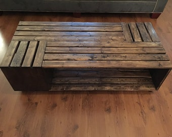 Crate Style Coffee Table made with hardwood, rectangular style