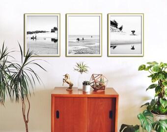 Minimalist Wall Art, Set of 3 Prints, Minimalist Photography, Black and White Prints, Beach Photography, Modern Wall Art, Set Of 3 Wall Art