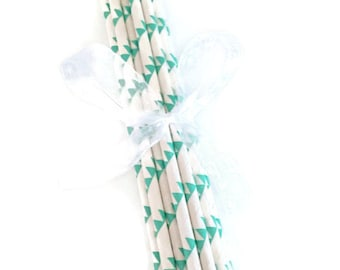 White With Green Zig Zag Paper Straws