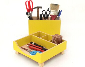 Yellow Desk Organizer, Desktop Office organizer, Box Set, Wood Accessories, Acrylic paint Yellow Wood, Tidy desk, Desktop storage, for him