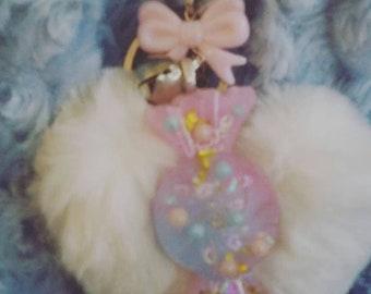 Fairy kei Kawaii pastel pompom key chain