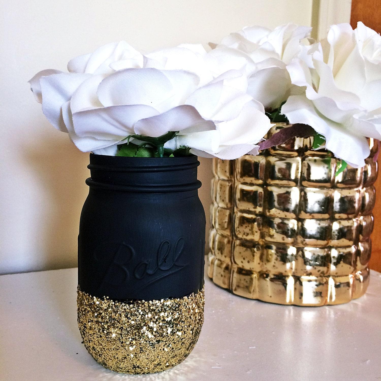 Mason Jar Party Decorations: Black Gold Mason Jar Party Supplies Decor Baby Shower Ideas