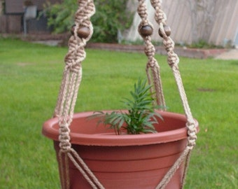 MACRAME Plant Hanger Vintage Style 40 inch 6mm SAND with BEADS