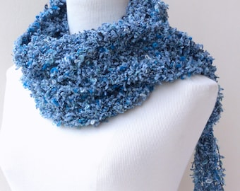 Blue Scarf , Hand knitted Scarf in Italian yarn , winter accessories