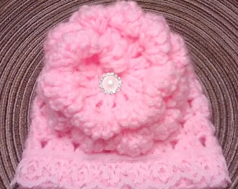 Pink Baby Hat, Newborn Hat, Coming Home Hat, Baby Girl Hat, Baby Shower Gift, Shabby Chic Hat