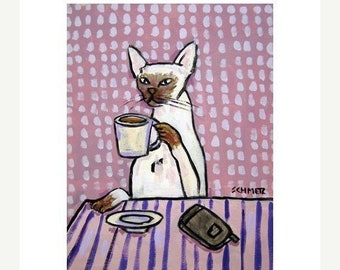 25% off cat art - Siamese Cat at the Coffee Shop Art Print, cat gifts, gift