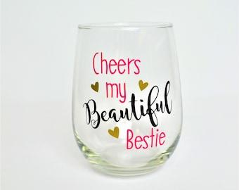 Best Friend Wine Glass // Best Friend Gift // Bestie Wine Glass // Gift for best friend // Best Friend Cup // Bestie Gift