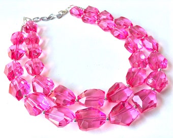 Dark Pink Statement jewelry, Chunky Beaded Necklace, pink Jewelry, magenta pink Necklace, pink beaded necklace, pink dress, pink wedding
